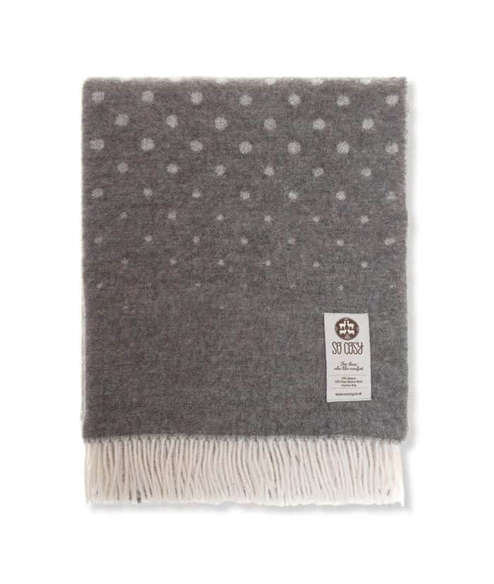 cosy and soft alpaca and fine merino wool blend throw in grey colour reversible