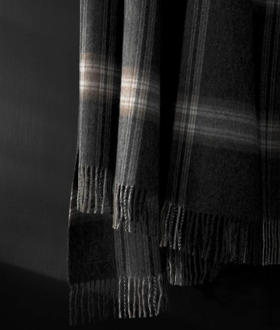 baby alpaca wool blanket in dark grey brown colour