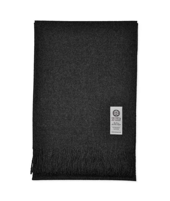 dark grey pure baby alpaca wool cosy throw blanket