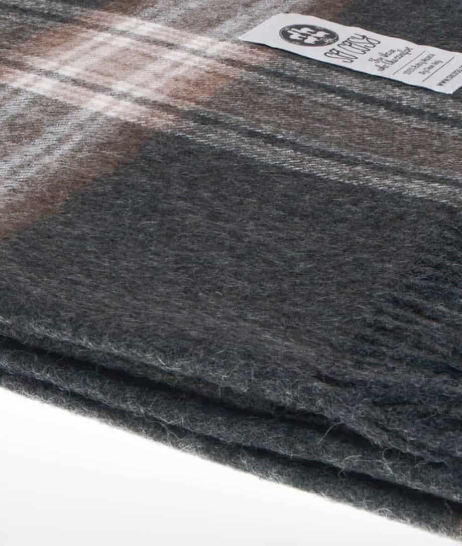 dark grey check ebbe luxury baby alpaca wool throw