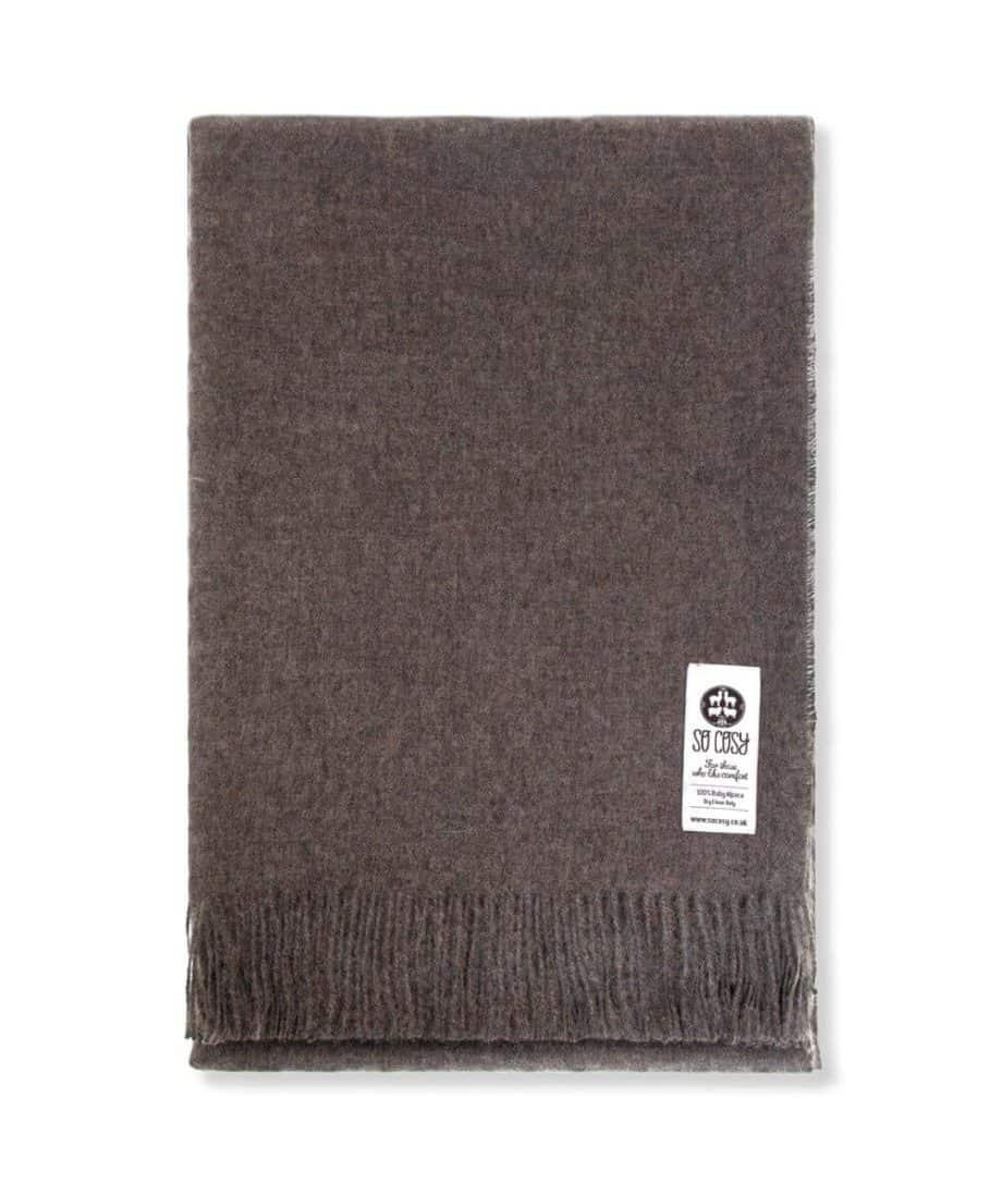 emma baby alpaca wool throw wrap mocha colour