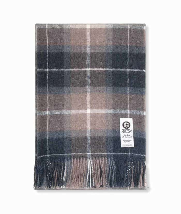 eppie grey brown check baby alpaca wool throw