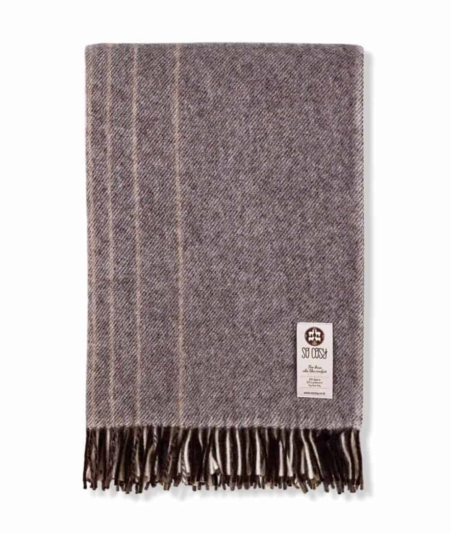 kaja design large alpaca mix wool throw blanket