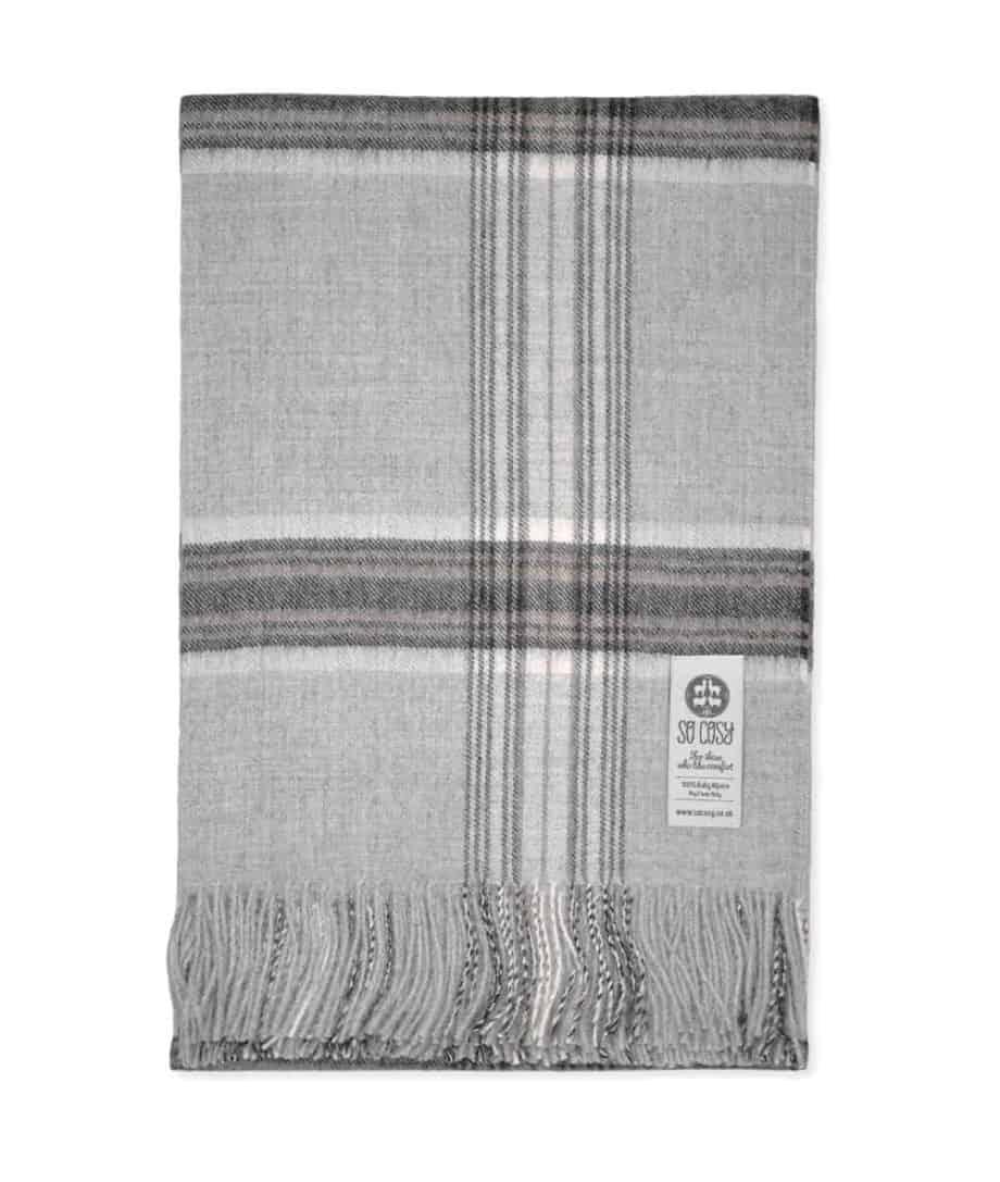 silver check pure baby alpaca wool online uk