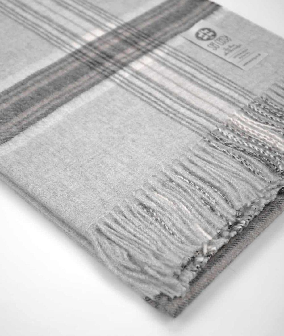 silver grey check alpaca wool throw online uk