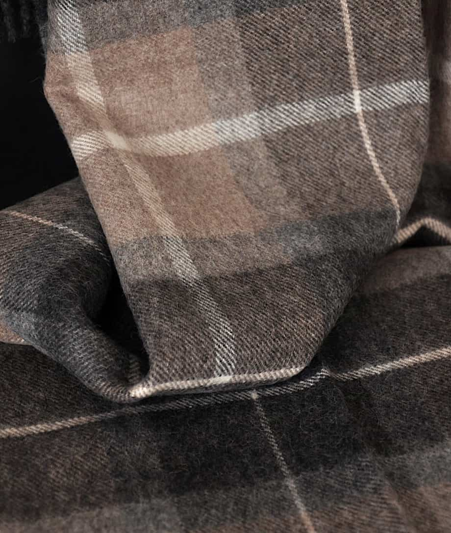 tartan cosy throw alpaca wool brown grey
