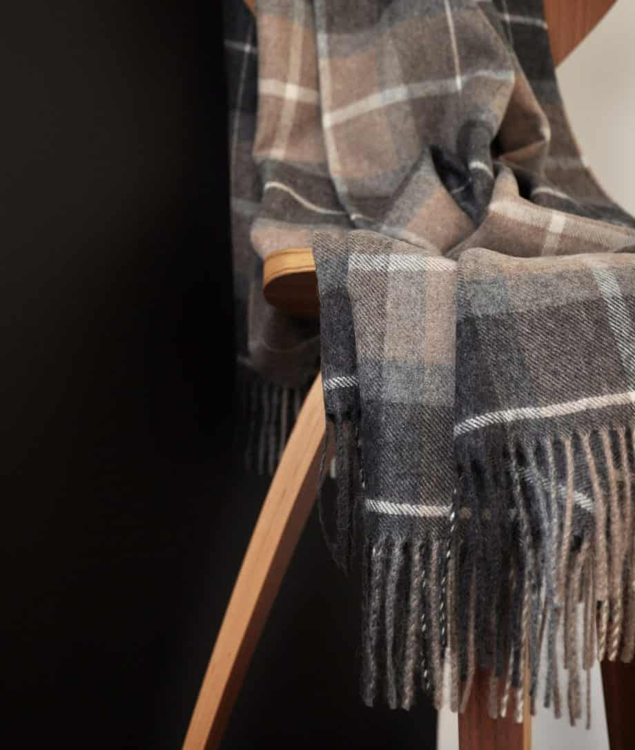 tartan throw in undyed baby alpaca wool