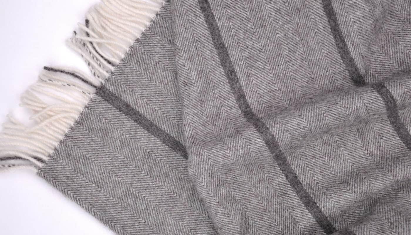 grey cream wool herringbone large bedspread