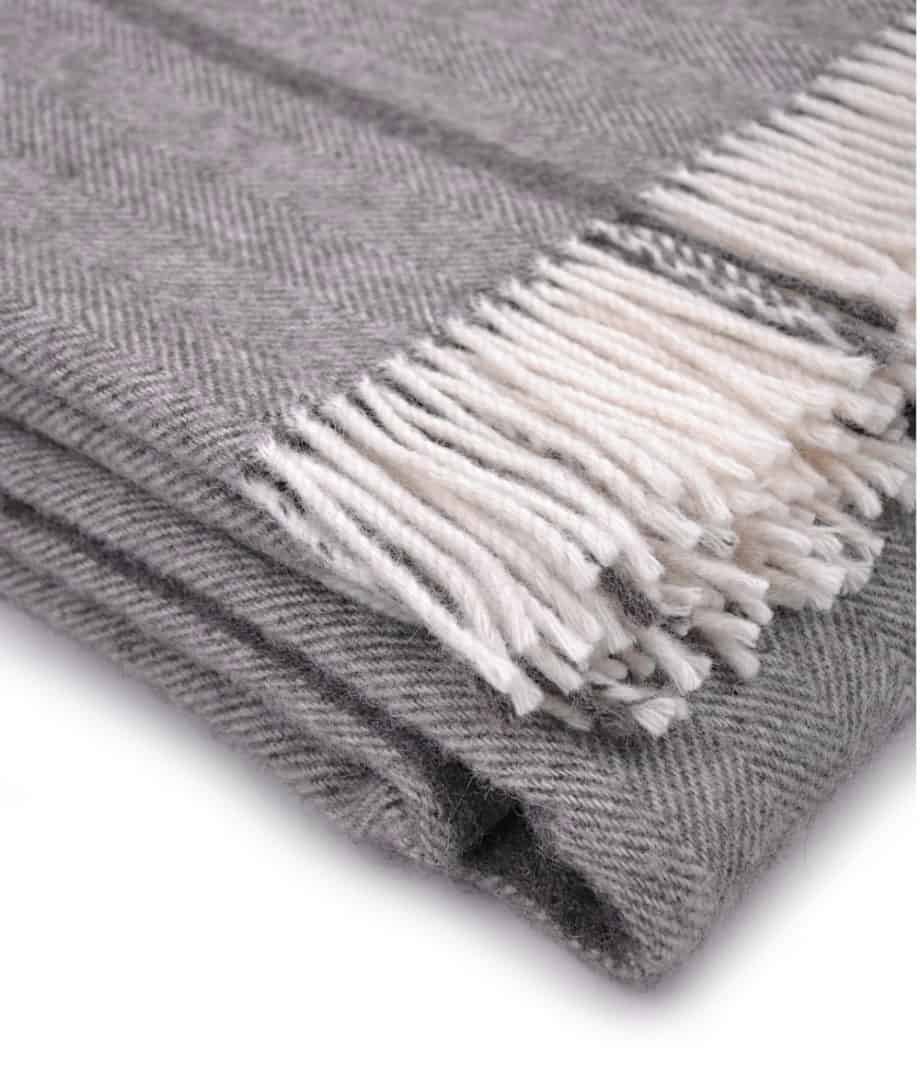 grey cream gotland pure new wool extra large cosy bedspread