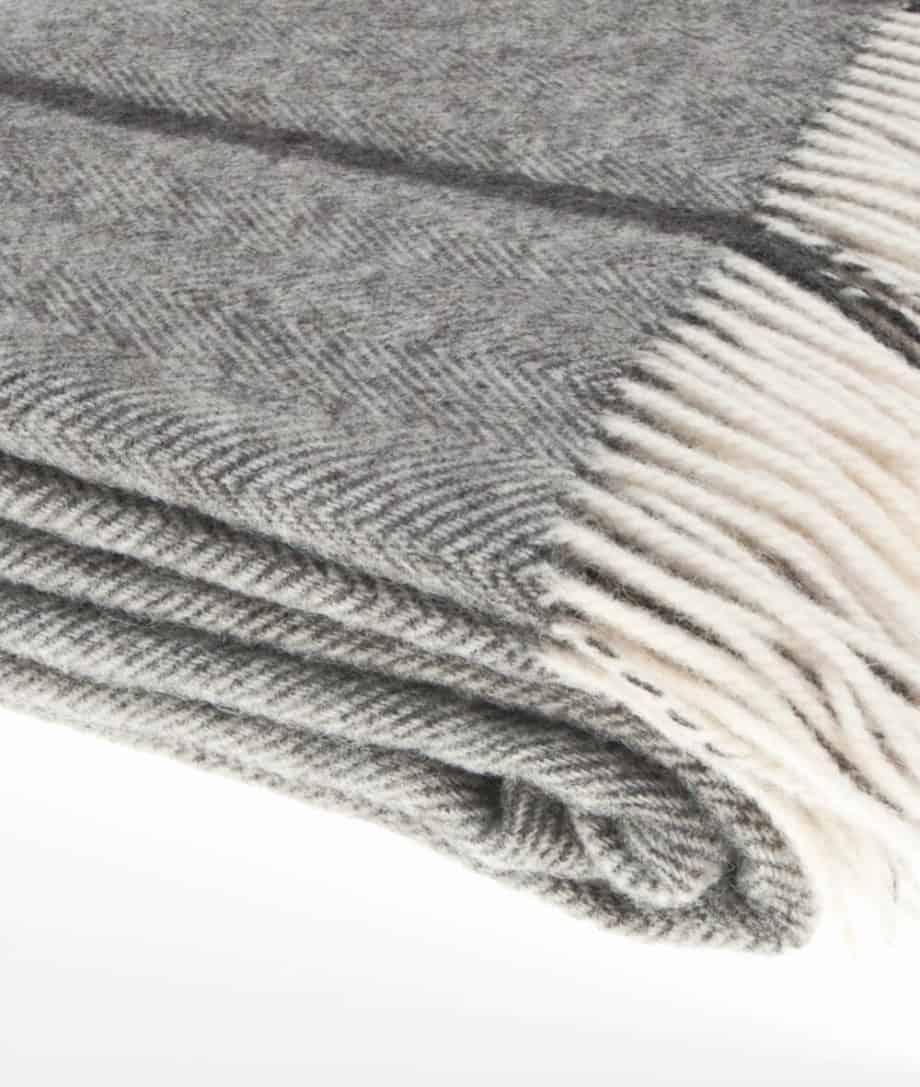 super king size grey wool herringbone bedspread