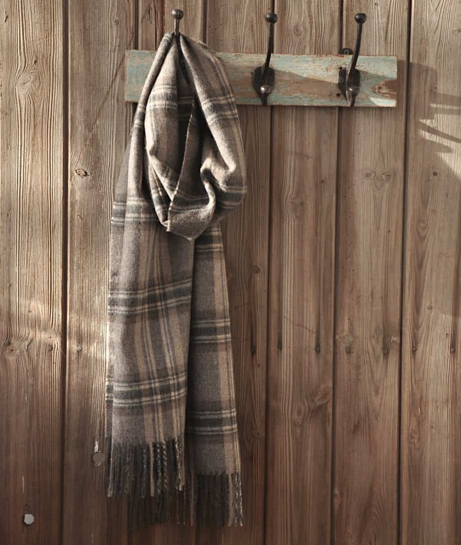 classic scarf baby alpaca wool charcoal beige check