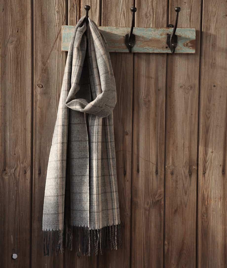 classic baby alpaca wool scarf grey beige check