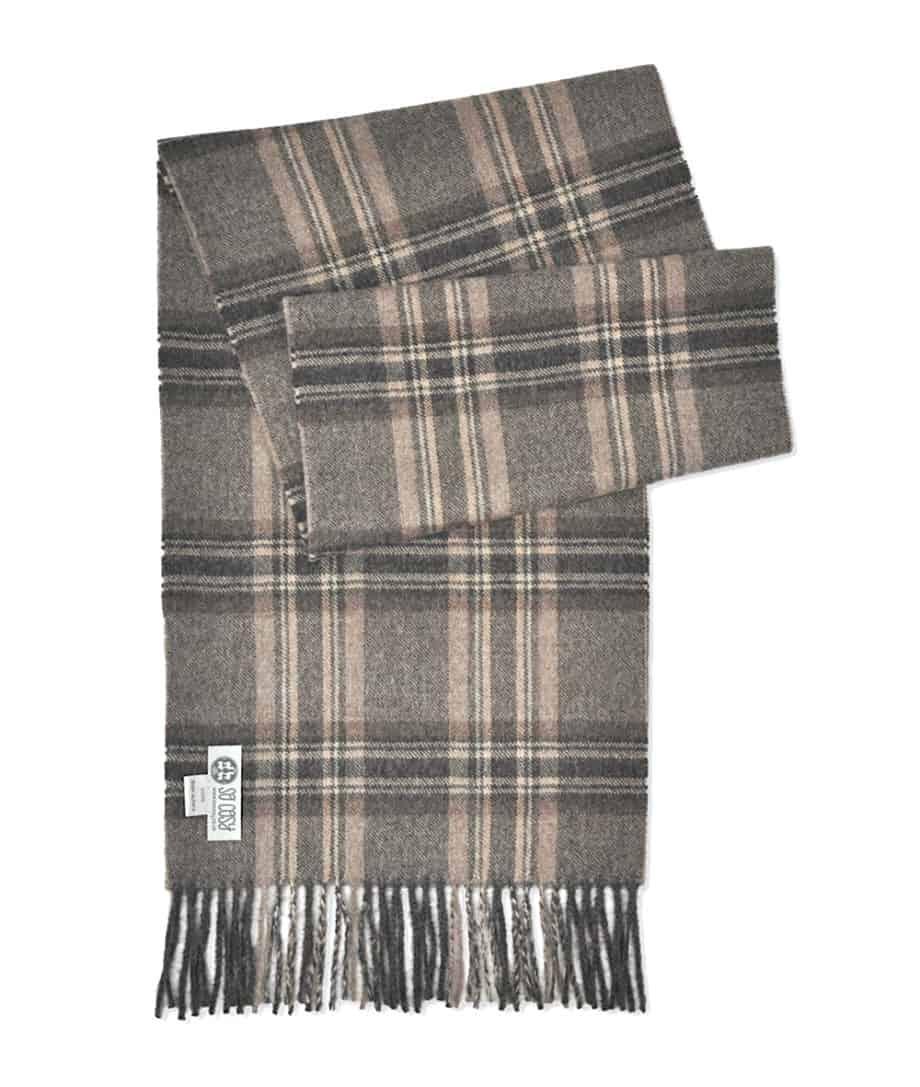 luxury scarf baby alpaca wool charcoal beige plad pattern
