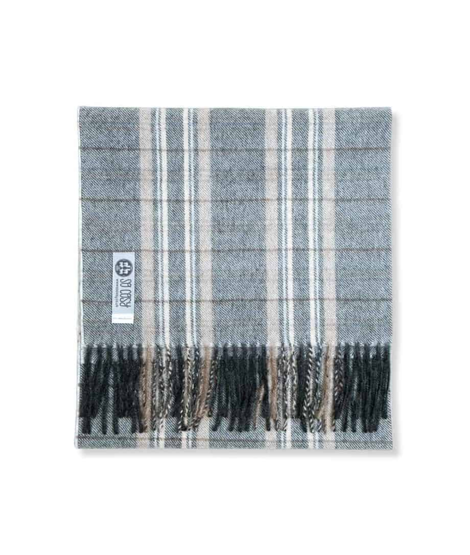 so cosy tanu grey and beige fine check scarf