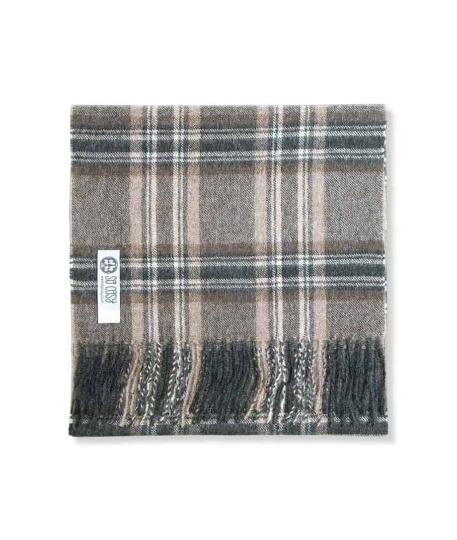 soft baby alpaca wool charcoal beige check scarf