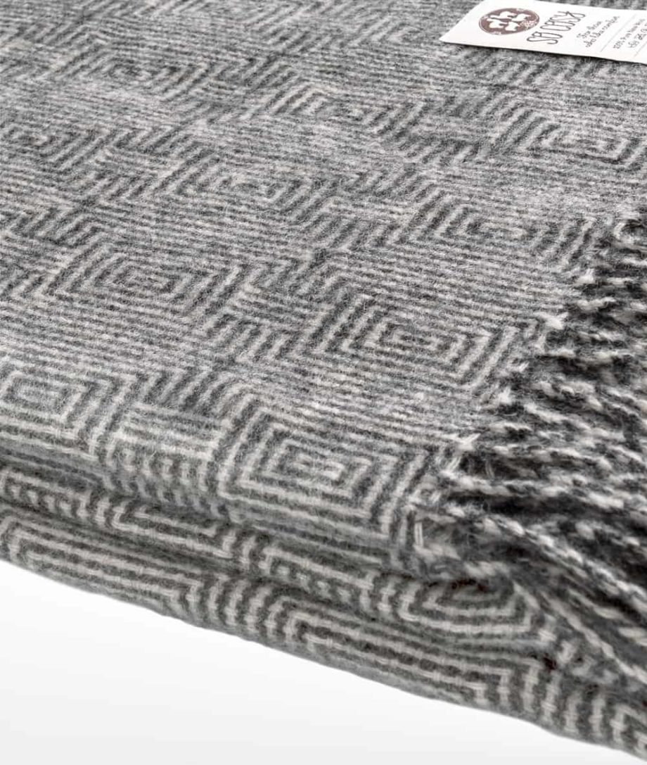 large pure wool throw in grey white colour