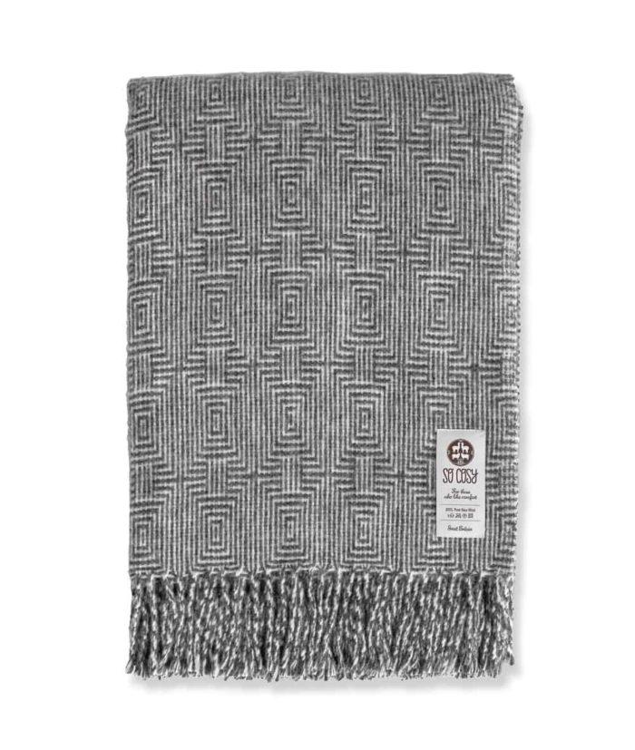 madrid large gotland undyed wool throw geometric pattern