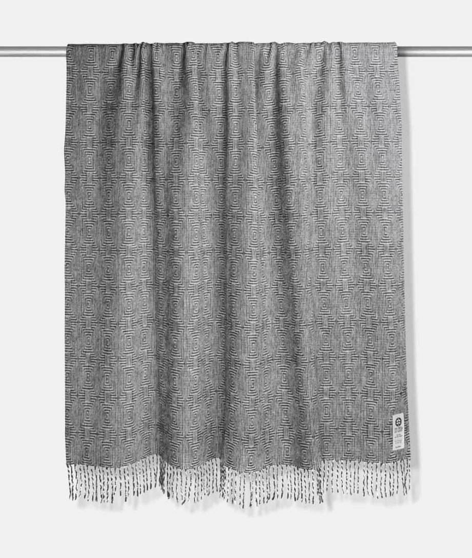 madrid large throw in geometric pattern made from pure wool