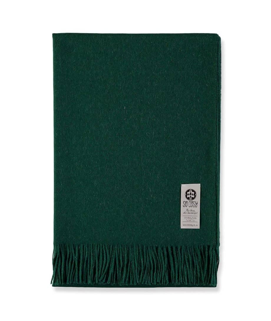 so cosy british racing green baby alpaca wool throw wrap