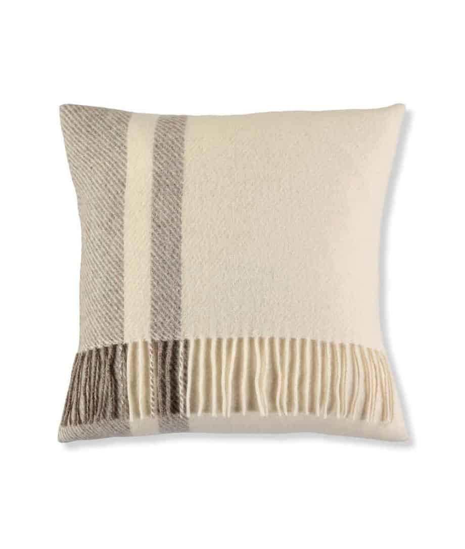brown cream wool cushion