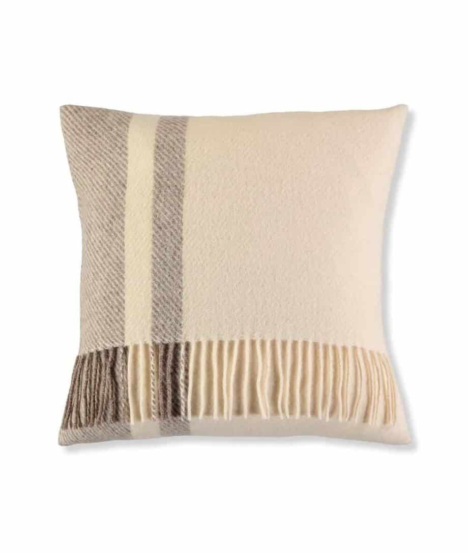 denis natural cream colour wool cushion with fringes