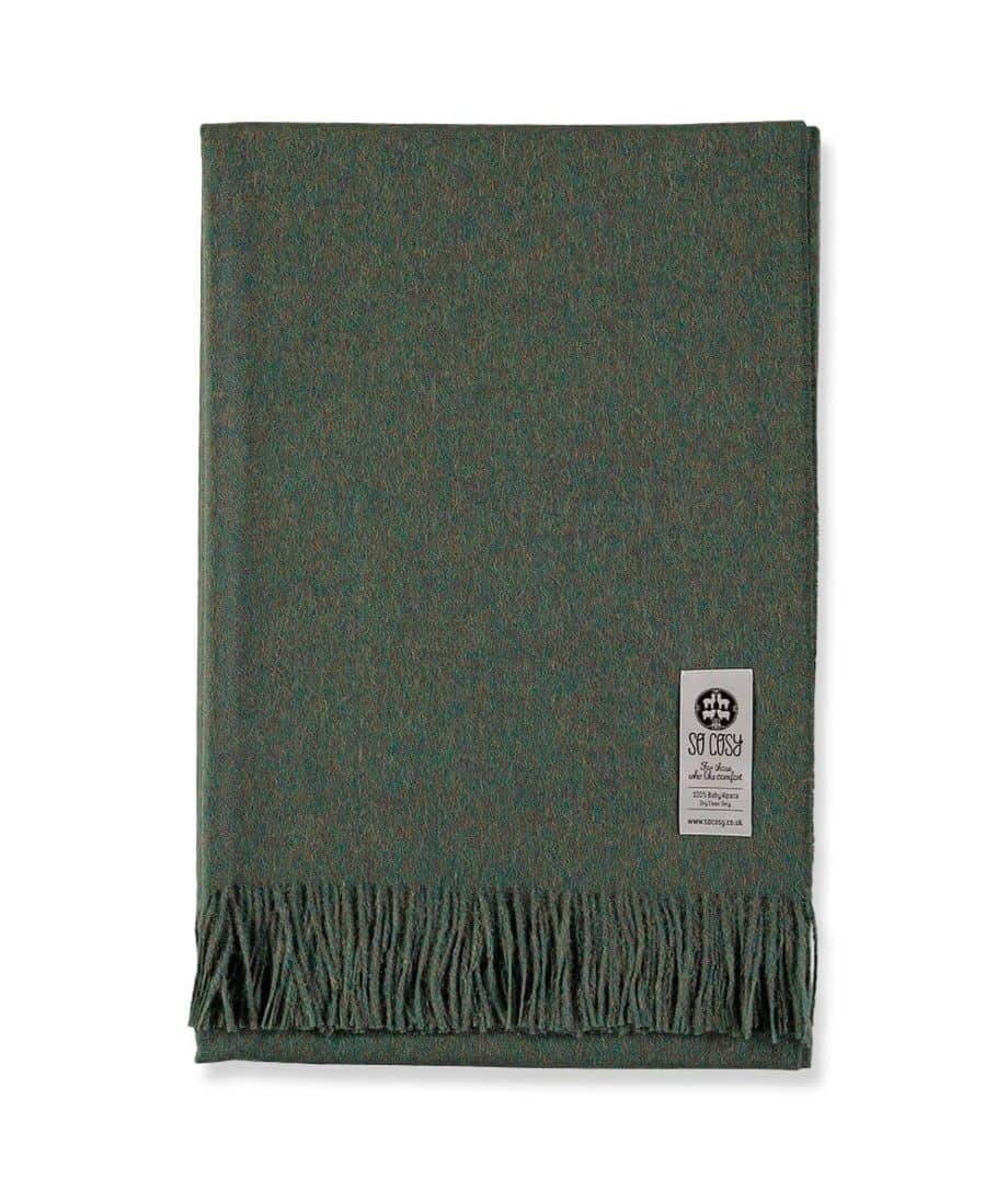 so cosy olive green colour baby alpaca wool wrap throw blanket