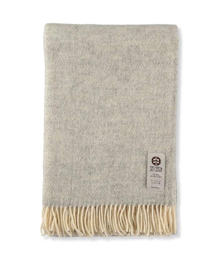 light grey cream gotland natural wool large blanket throw