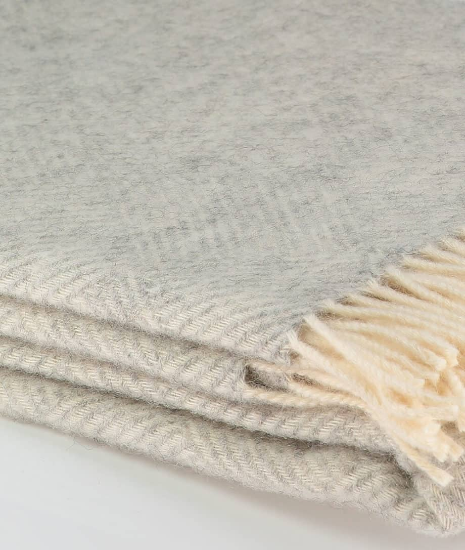 silver grey cream large blanket made from gotland wool