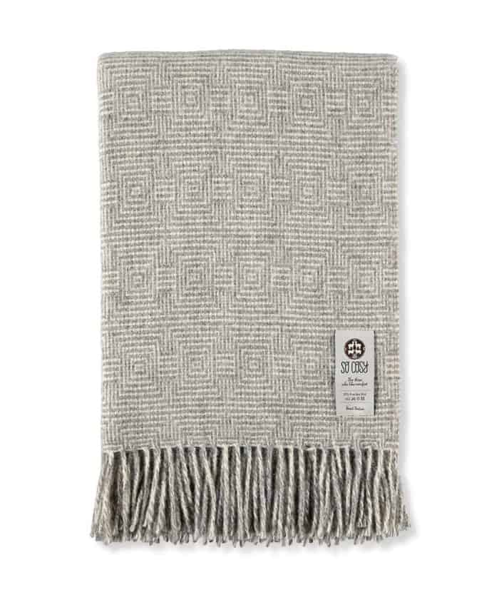 super king size throw in light grey white