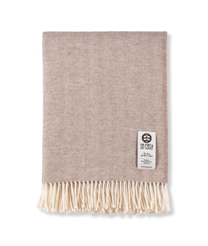 alpaca merino wool beige cream herringbone sofa throw