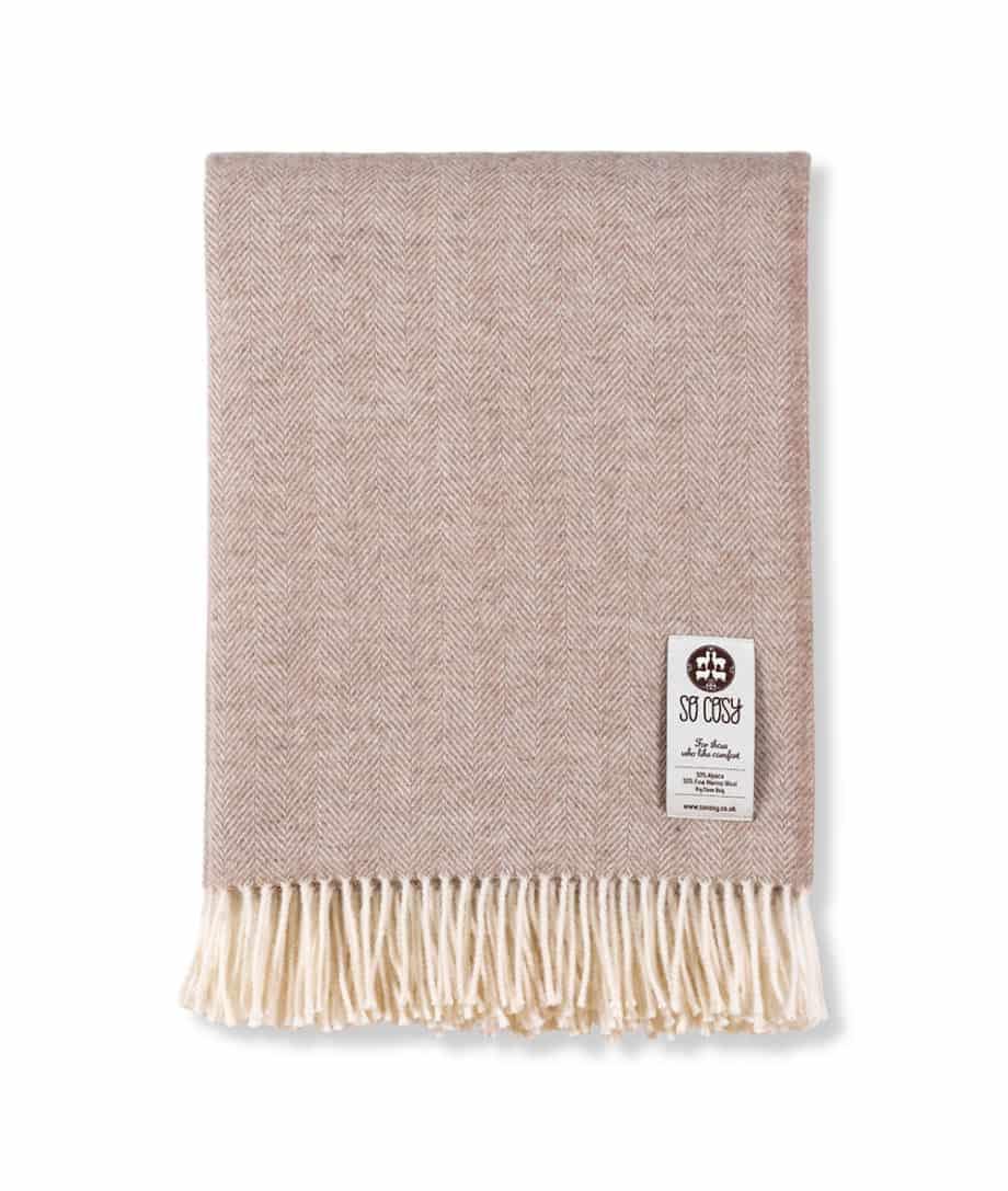 alpaca merino wool beige cream herringbone sofa throw