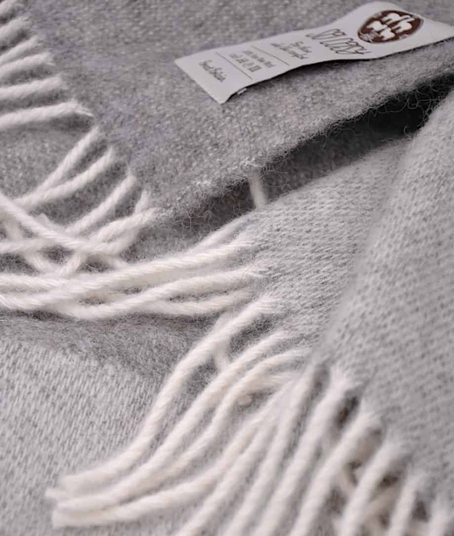 cosy extra large pure wool bedspread in grey colour