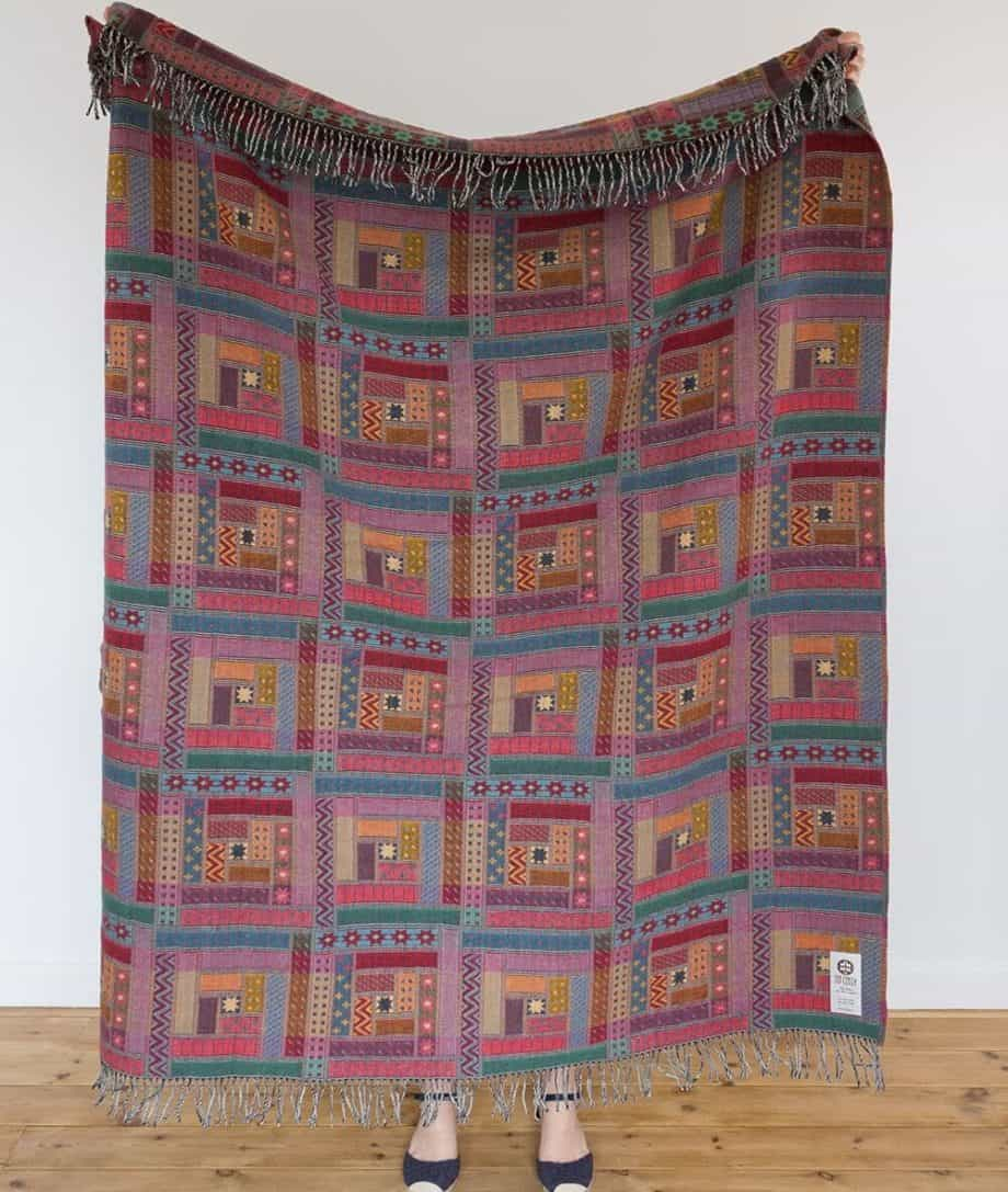 log cabin patchwork design woven merino wool sofa throw
