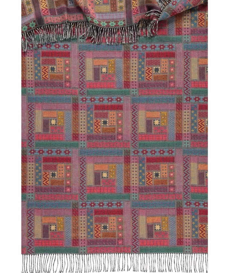 log cabin patchwork design woven throw made from fine merino wool