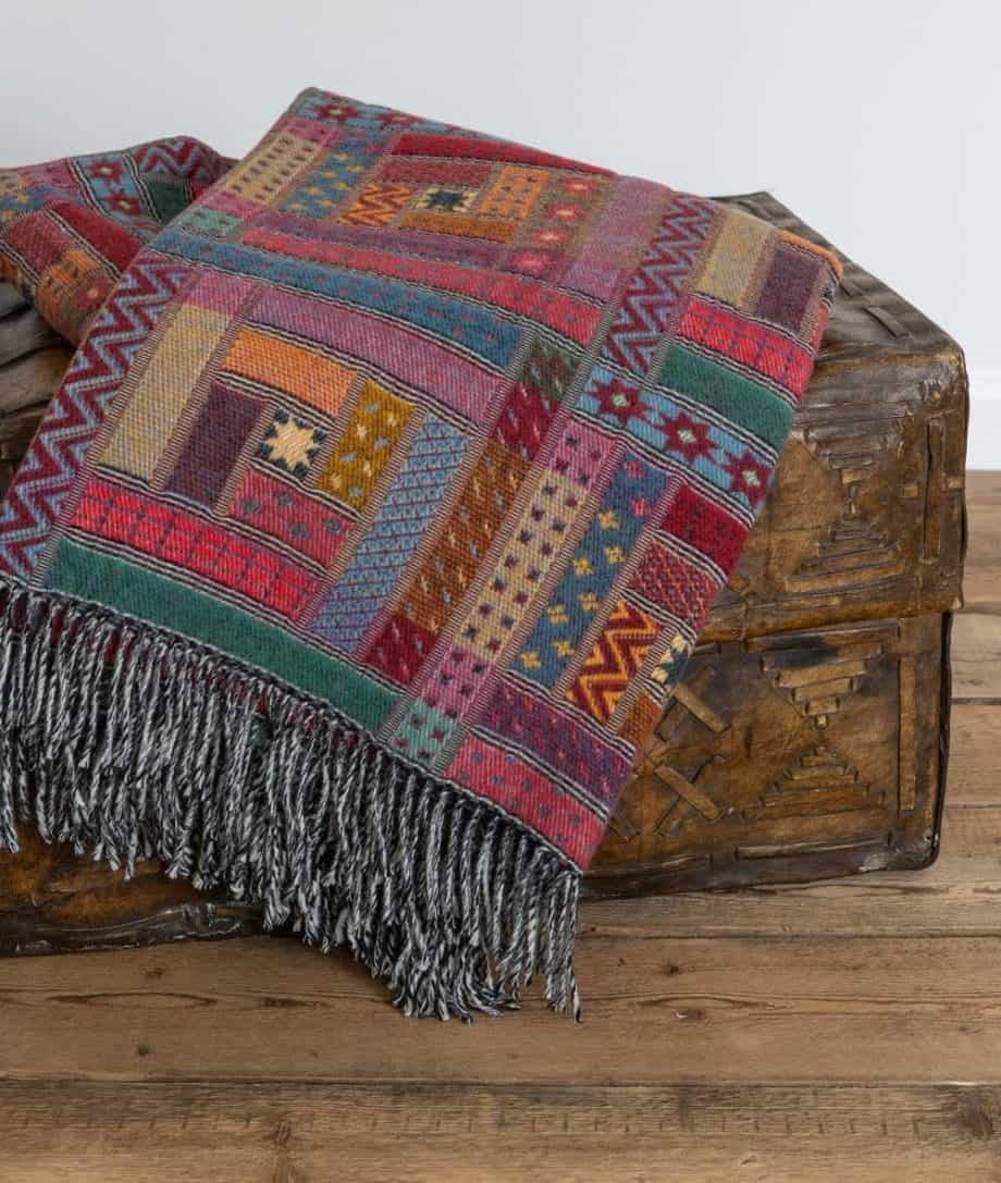 red colour merino wool sofa throw
