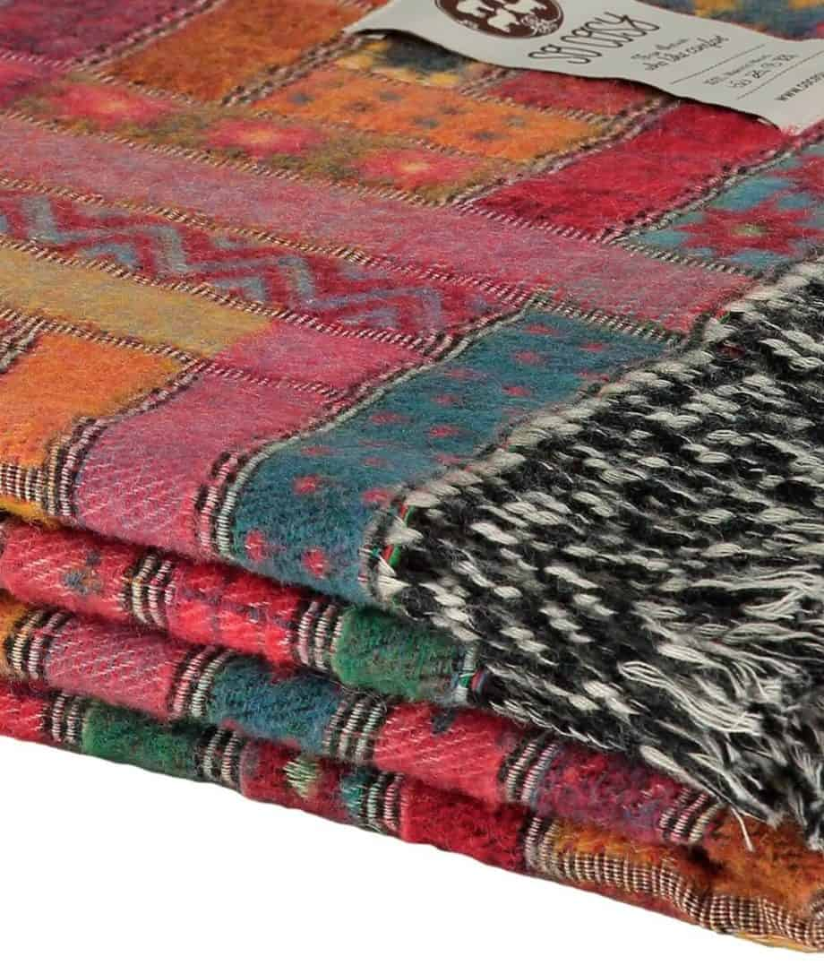 red colour patchwork design woven merino wool throw