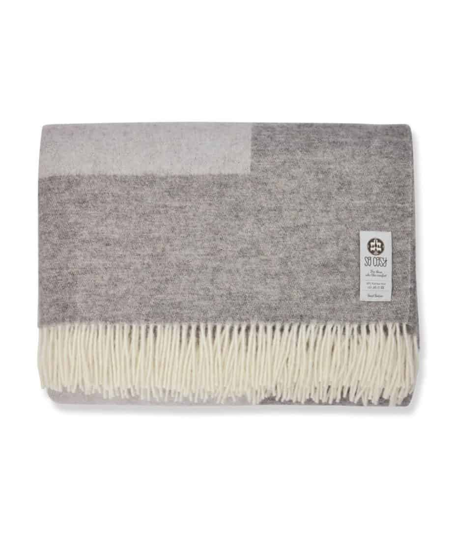 reversible super king size bedspread made from natural wool in grey colour