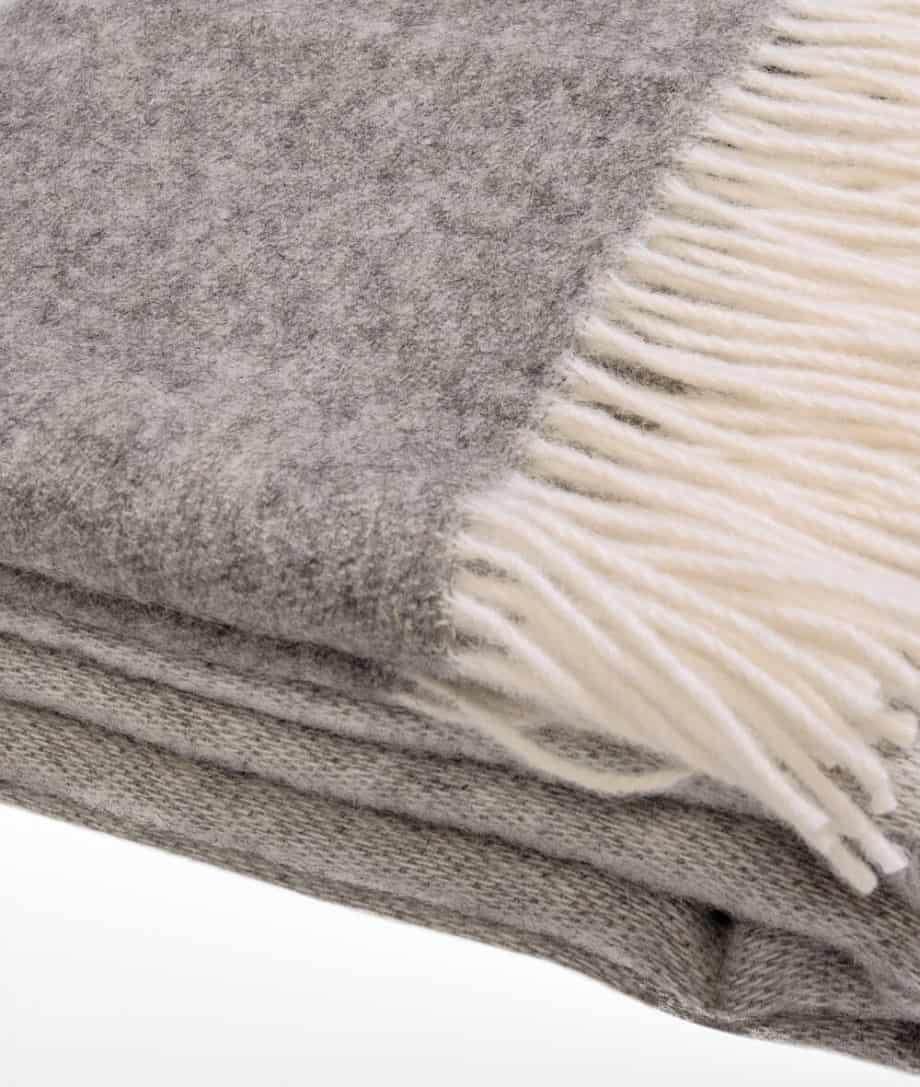 washable wool super king size bedspread in grey