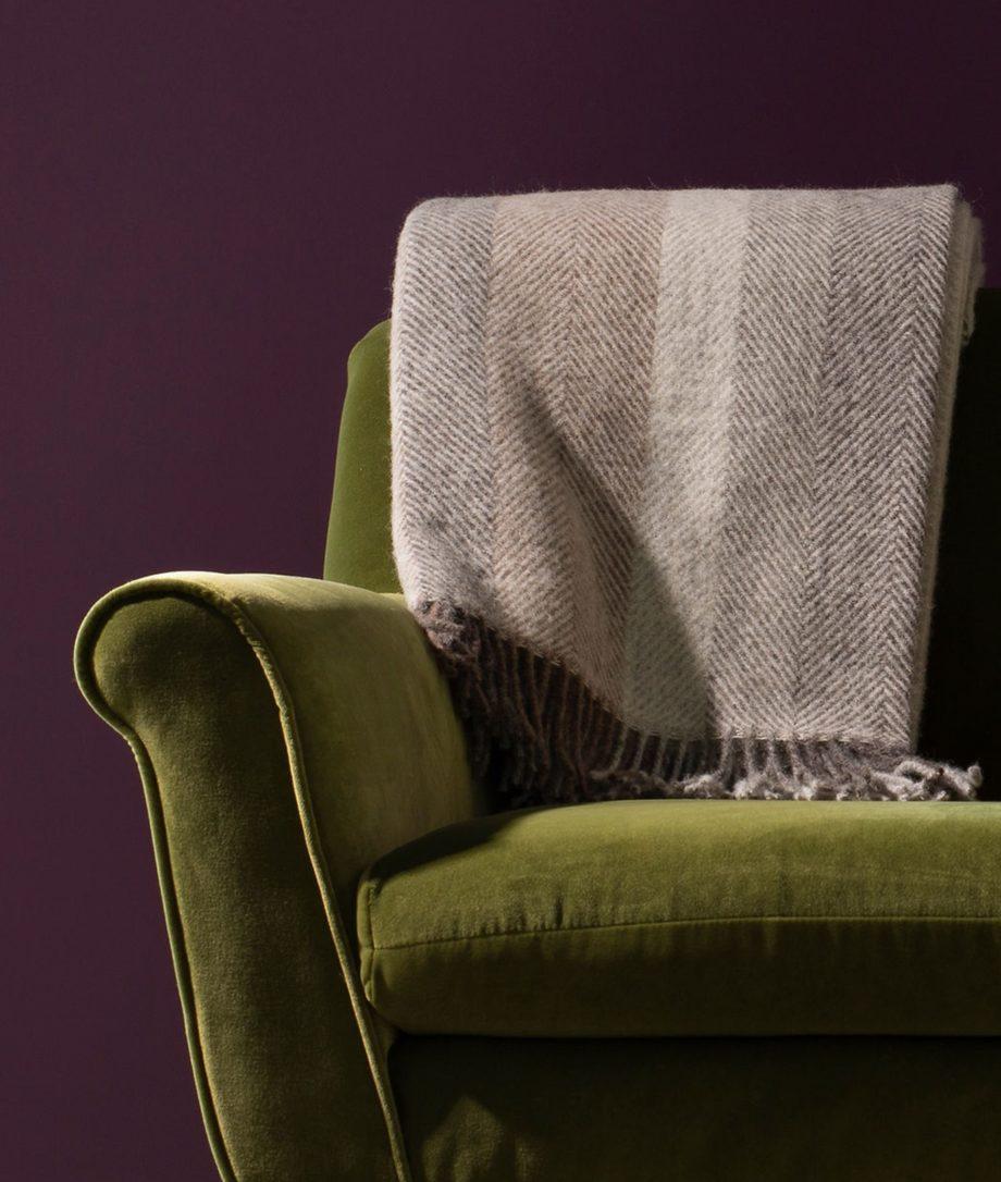 large herringbone design multi tone blanket