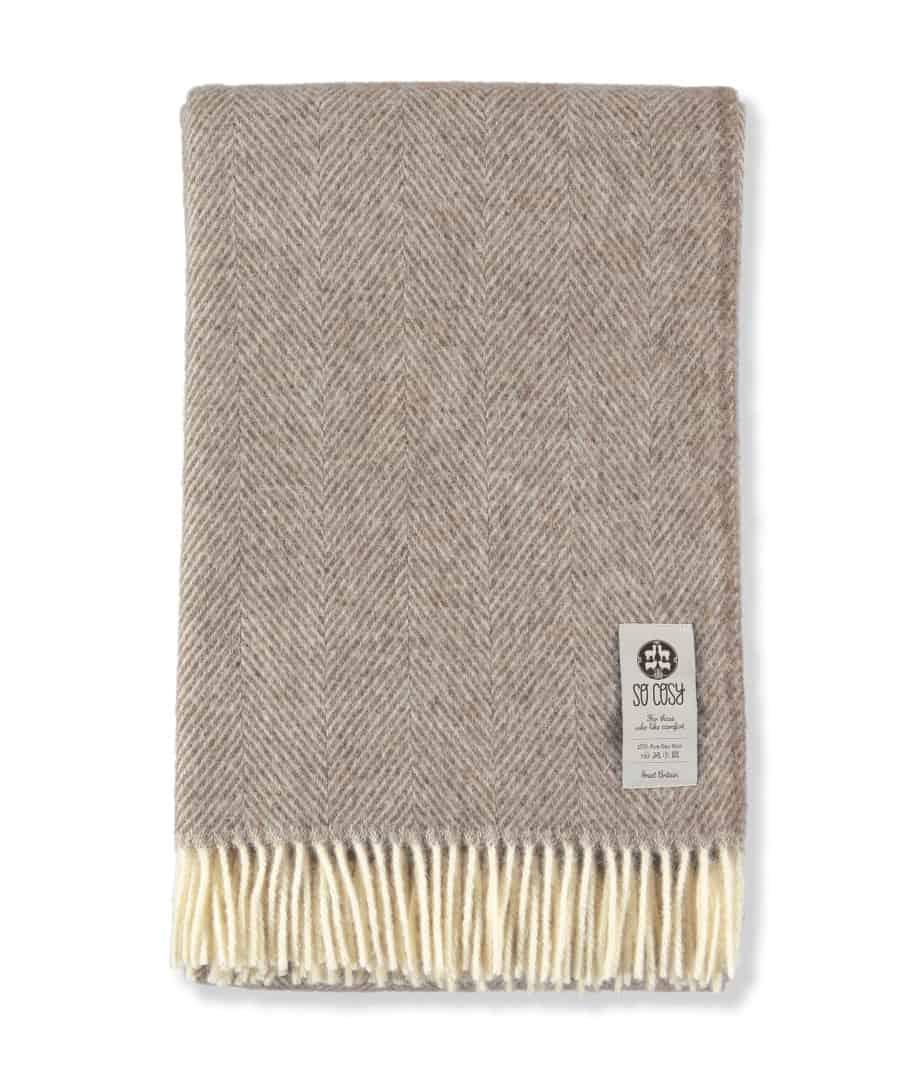 so cosy large size herringbone throw blanket in pure new wool