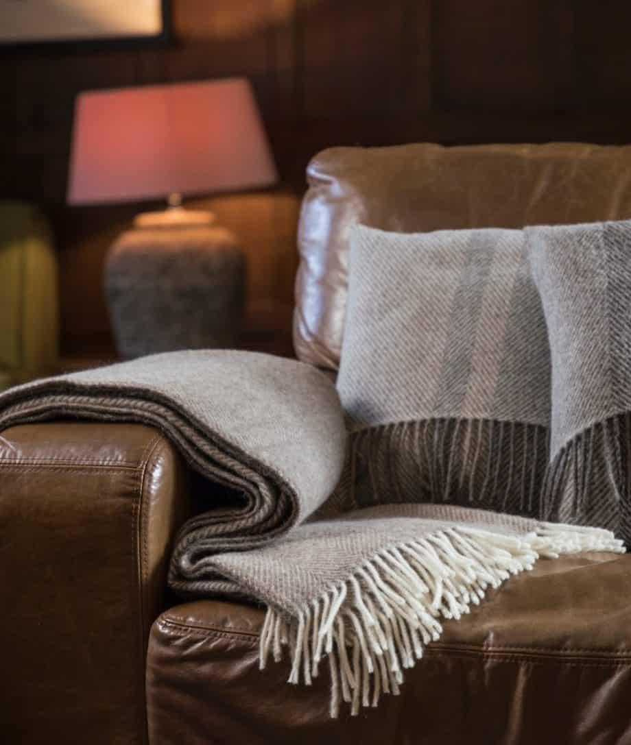 cosy super soft herringbone natural pure wool throw blanket