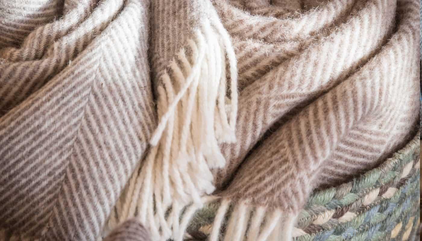cosy herringbone pure new wool throws blanket