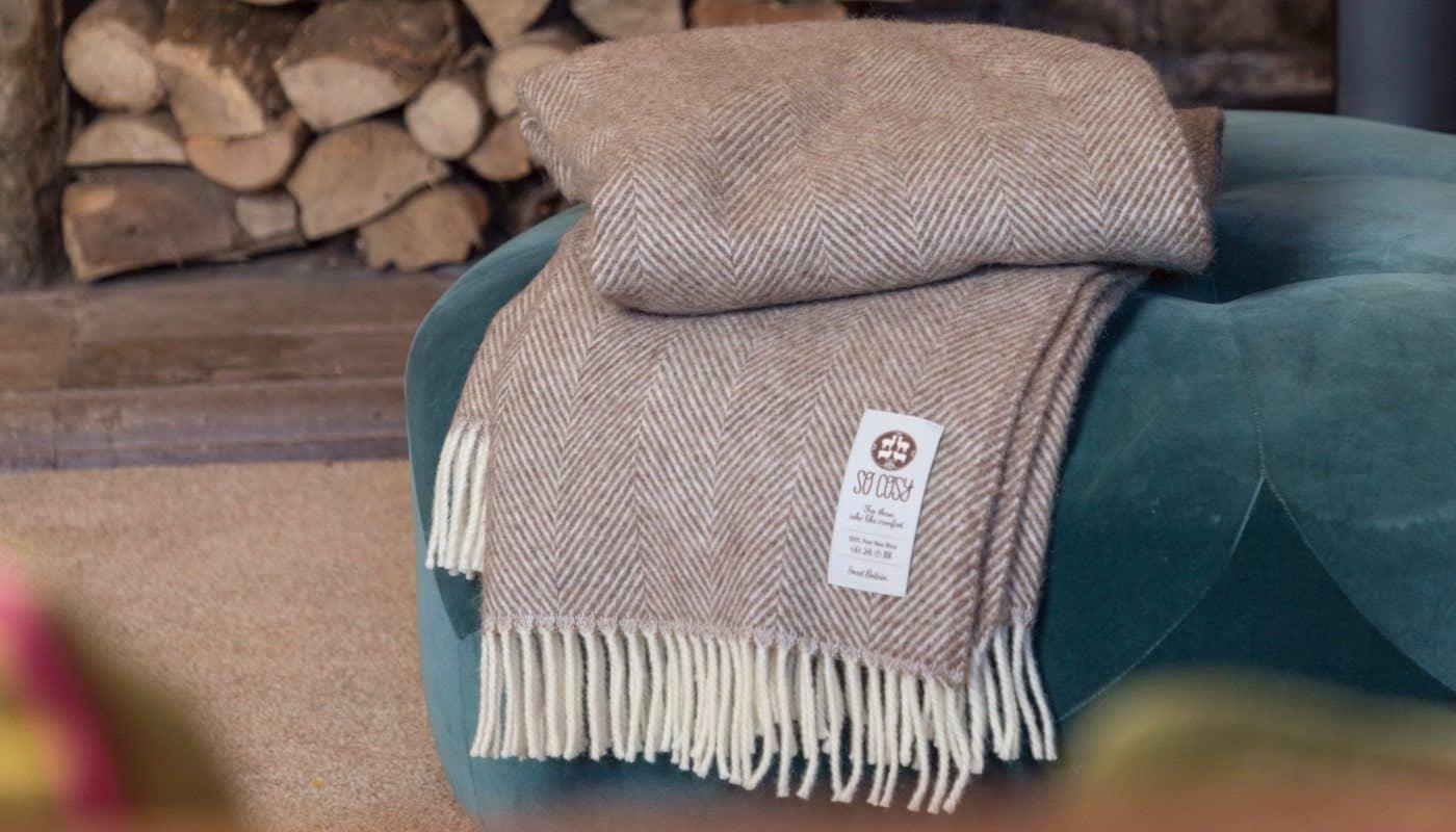 so cosy herringbone large throw blanket