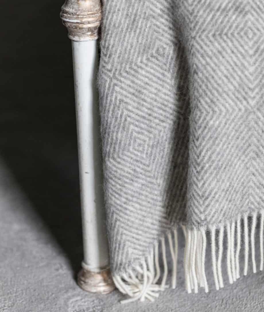 gotland pure wool grey large bedspread blanket