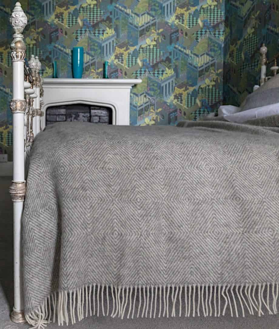luxury pure new wool large grey cosy bedspread