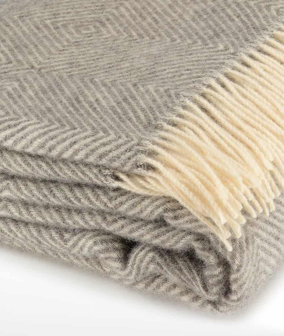 super king size bedspread in grey cream colour made from gotland wool
