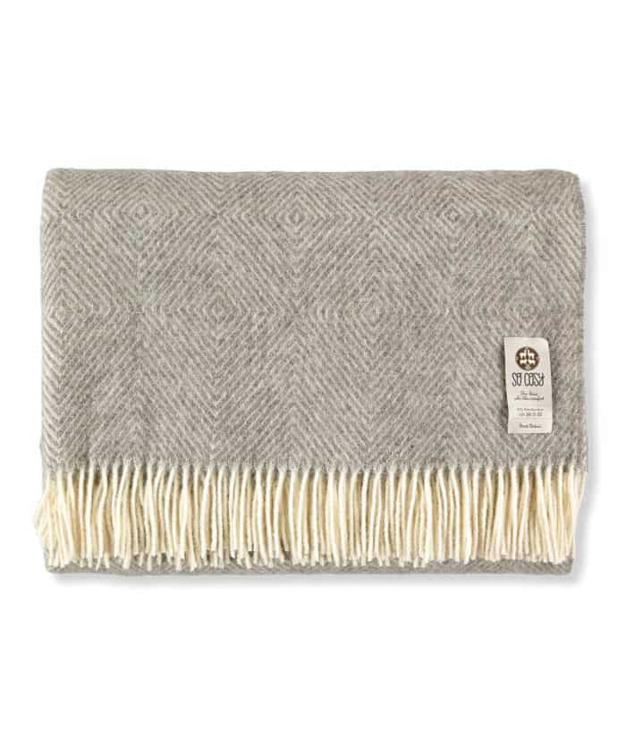 super king size diamond design bedspread made from natural grey pure wool