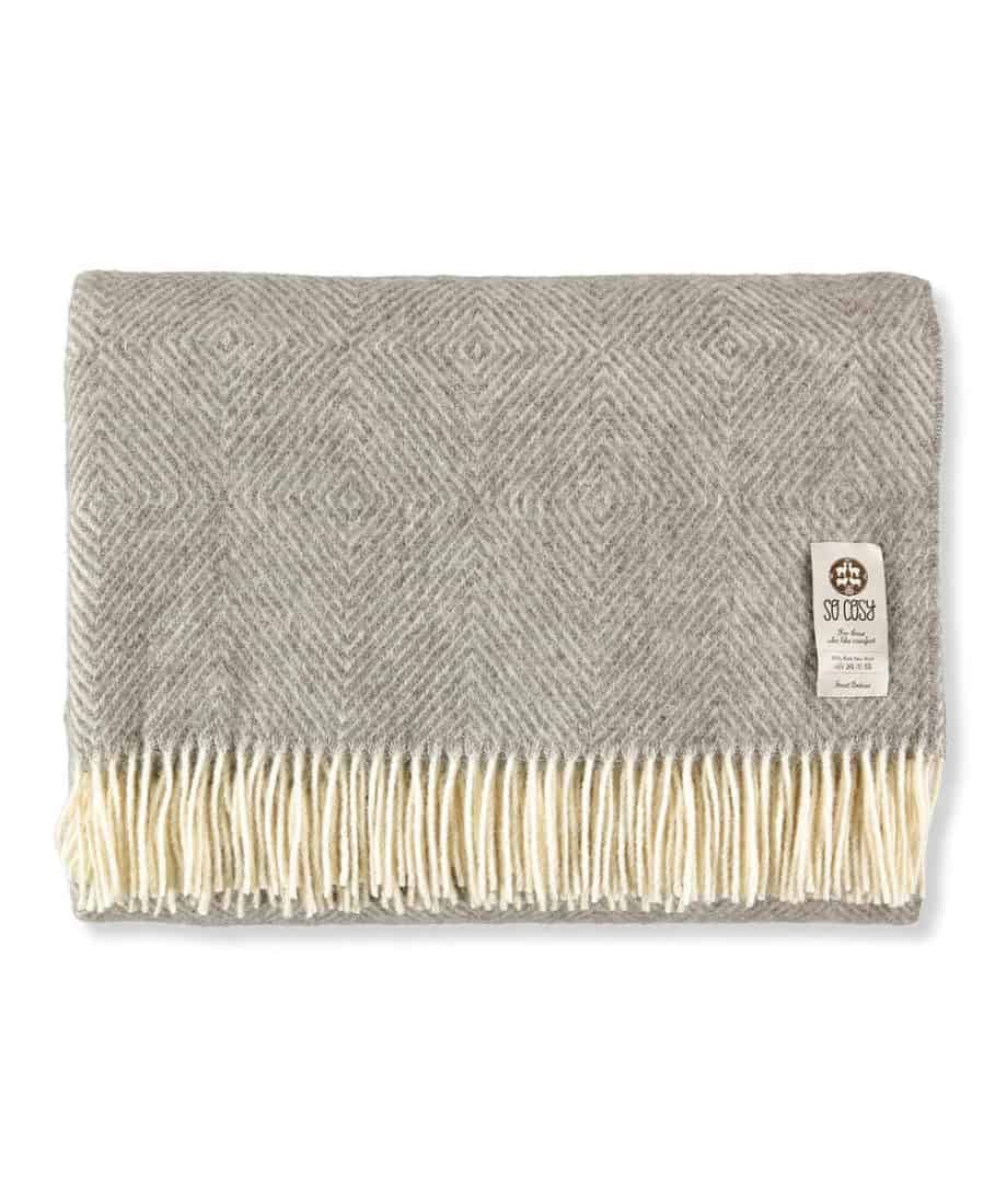 super king size diamond design grey bedspread made from pure wool