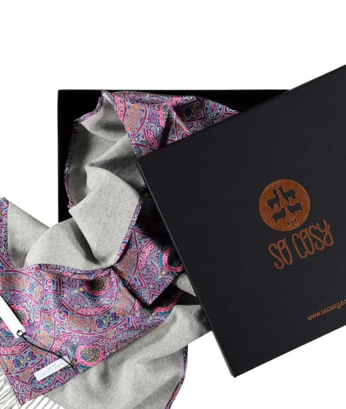 so cosy silver grey scarf made with liberty gambier print silk and it comes in gift box