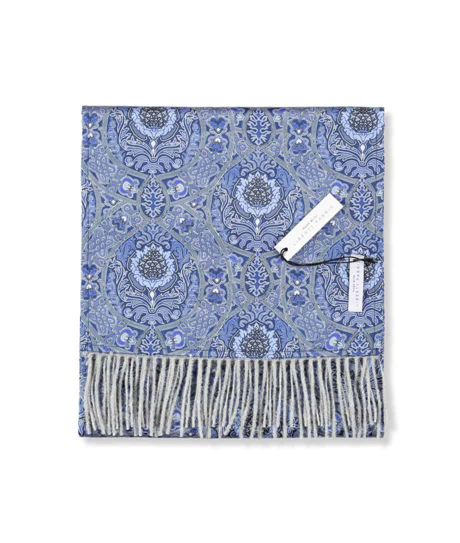silver grey luxury scarf with blue liberty silk